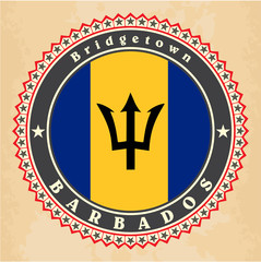Vintage label cards of Barbados flag. Vector