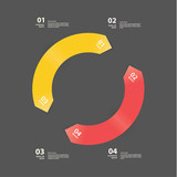 Vector abstract template. Two cycle arrows in modern colors. Cle