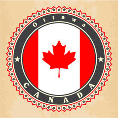 Vintage label cards of Canada flag. Vector