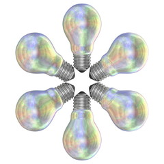 Pearl light bulbs arranged in radial pattern
