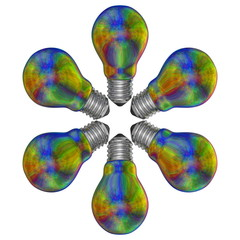 Multicolored iridescent light bulbs arranged in radial pattern