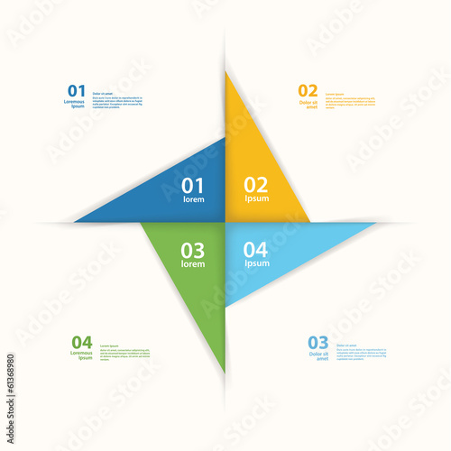 Vector pinwheel template. Abstract layout for presentation or in