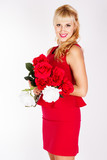pretty blonde with red roses