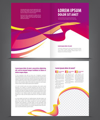 Two-fold beauty violet brochure print template