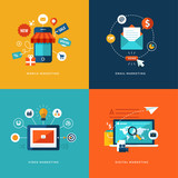 Set of flat design concept icons for internet marketing.