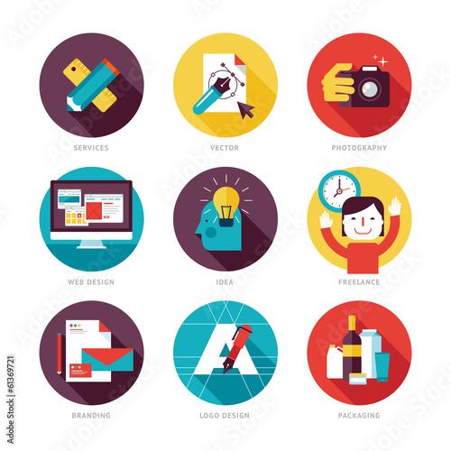Set of modern flat design icons on design development theme