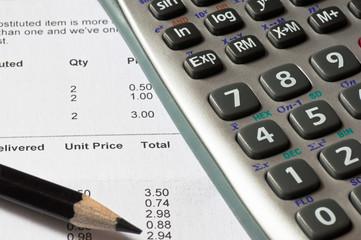 Calculator and sales figures