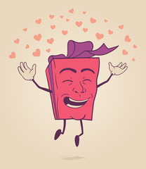 Happy character of valentines gift box jumping with hearts