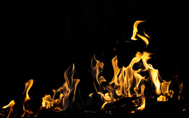 flame fire on black background