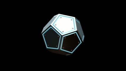 Rotating glowing dodecahedron