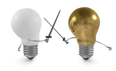 Golden light bulb fighting with swords against white one