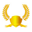Golden shield with ribbon and laurel wreath