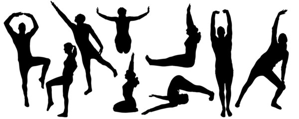 Vector silhouette yoga.