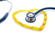 Stethoscope on Heart Shaped Fish Oil