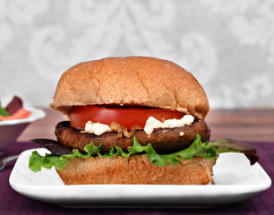 Portobello mushroom burger with goat cheese.