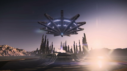 Scene of a complete futuristic city with large buildings