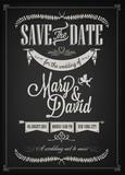 Fototapety Save The Date Wedding invitation Card On Blackboard With Chalk