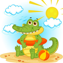 Crocodile on the beach - vector illustration