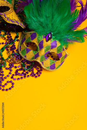 Colorful group of Mardi Gras or venetian masks or costumes
