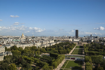 Aerial View on Champ de Mars from the Eiffel Tower