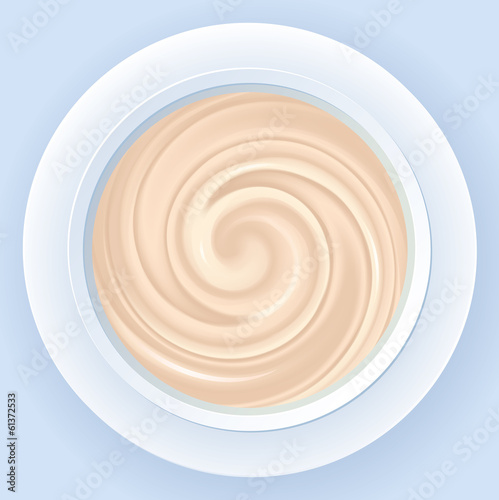Vector background of gently pink cream in white jar