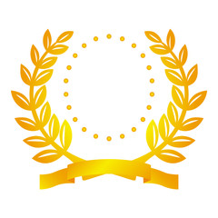 Golden laurel wreath with ribbon