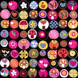 Fototapeta cute hearts, mushrooms & flowers pattern