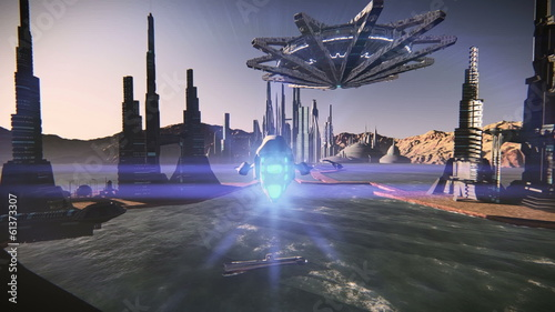 Aerial scene of a spaceship taking off in a futuristic city