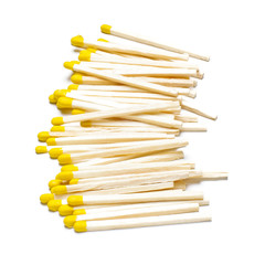 Pile of matches on the white background
