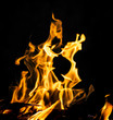 canvas print picture - flame fire on black background
