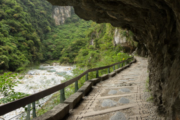 Path under a cliff at the Taroko National Park in Taiwan