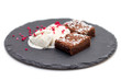 Brownies with vanilla ice-cream isolated on white