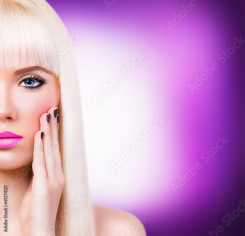 Beautiful blonde girl with manicure