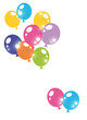 party invitation card with colorful balloons isolated