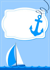 nautical card, sailing boat and anchor on blue background