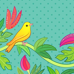 Bright yellow, orange little tropical forest bird and wild green
