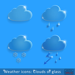 Weather icons Clouds of glass blue