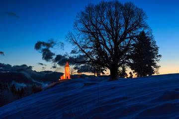 St. Primož church near Jamnik at dawn on, Slovenia