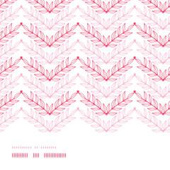Vector Pink lineart leaves chevron horizontal frame seamless