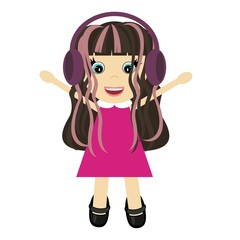 nice little girl with headphones