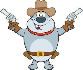 Gray Bulldog Cowboy Character Holding Up Two Revolvers