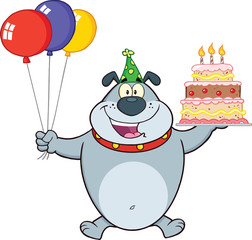 Birthday Gray Bulldog Holding Up A Birthday Cake With Candles