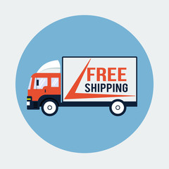 Free Shipping Truck Flat Icon
