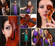 Music Collage. Beautiful young girl with violin