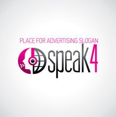 Logotyp słuchaj i mów różowo-grafitowe