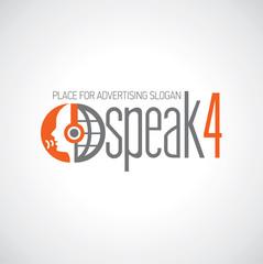 Logotyp słuchaj i mów szaro-pomarańczowe