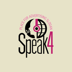 Logotyp słuchaj i mów bordo-grafit