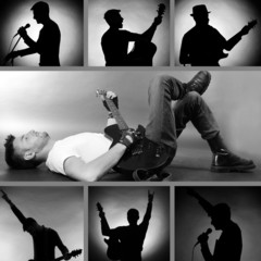 Music Collage.Young musician with guitar