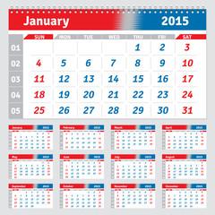 English calendar 2015, horizontal grid for quarterly calendar