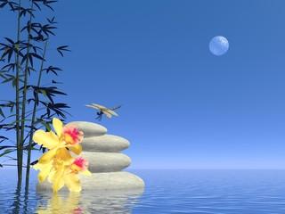Zen white stones - 3D render